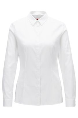 Slim-fit blouse van een katoenmix met stretch, Wit