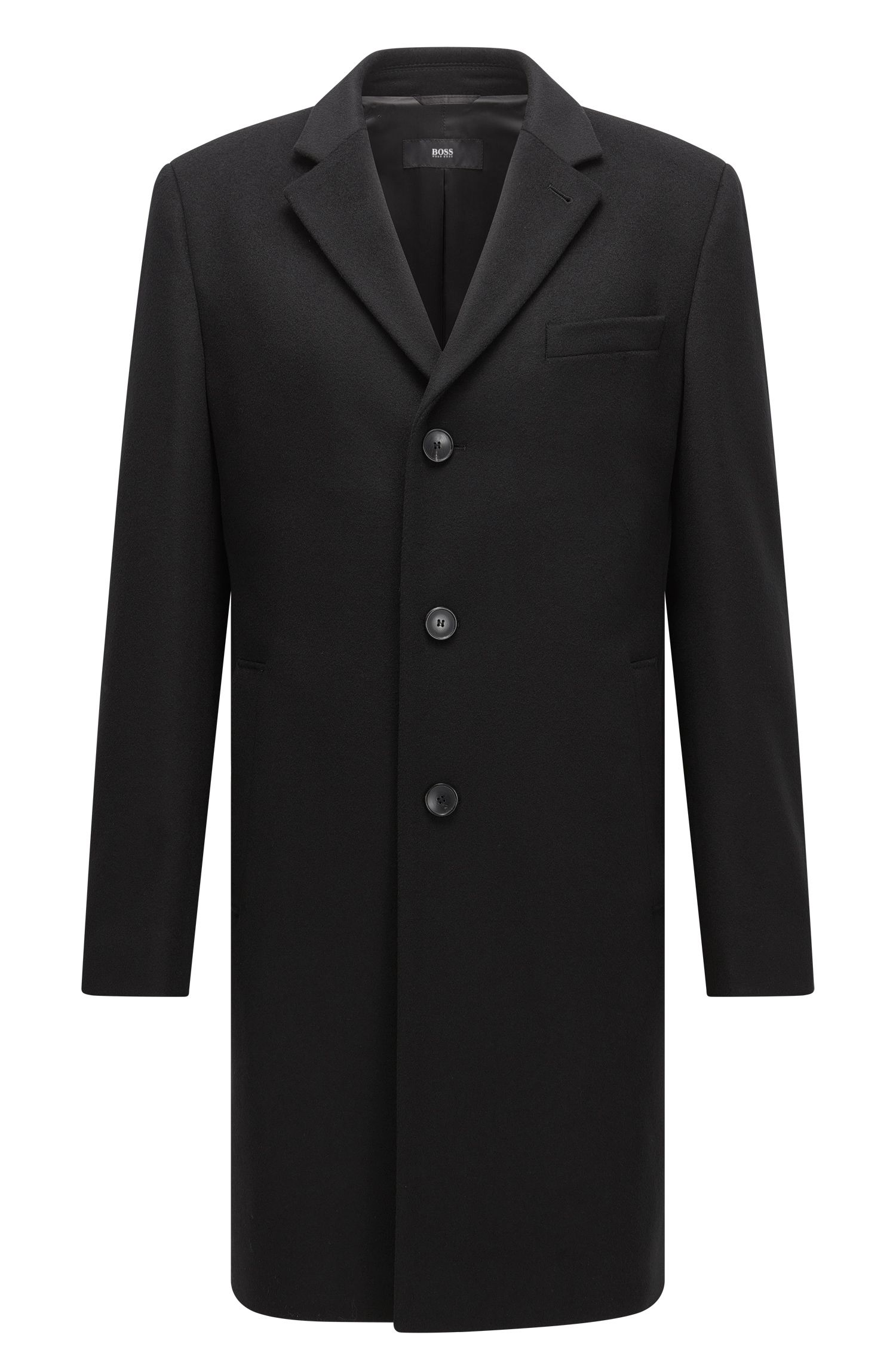 Cappotto slim fit in misto lana