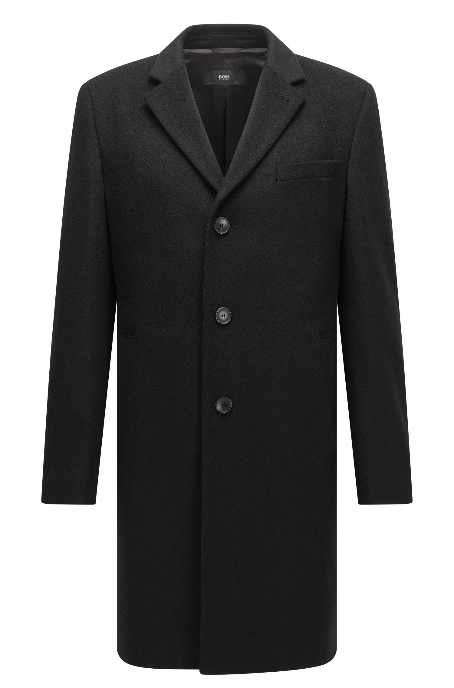 Slim-fit mantel van een wolmix