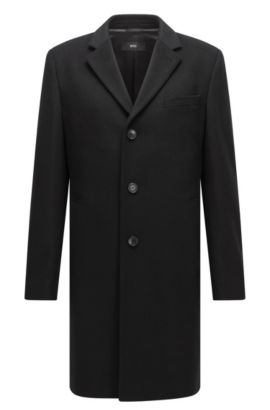 Wool-blend coat in a slim fit, Black