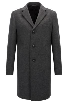 Wool-blend coat in a slim fit, Grey