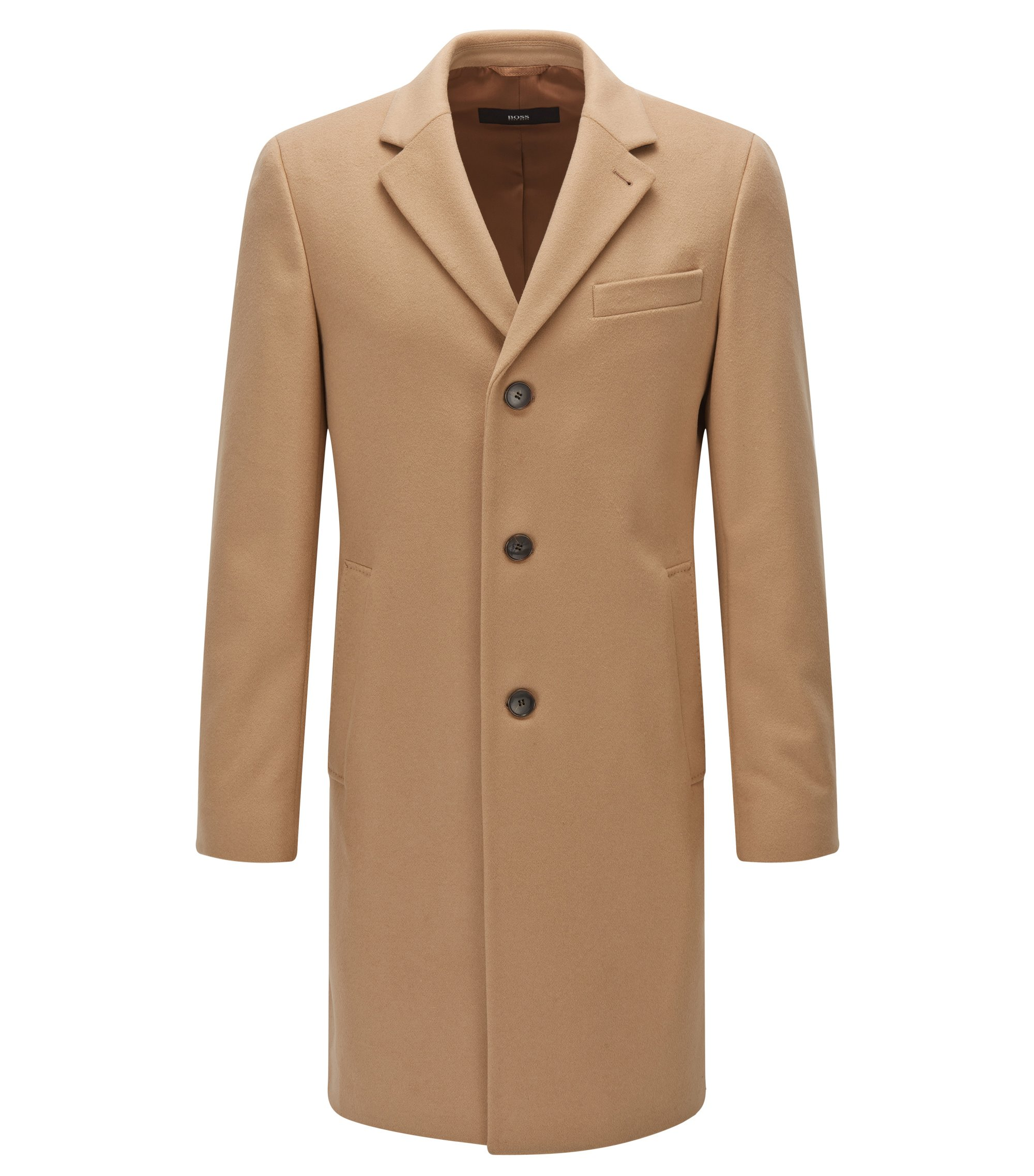 Wool-blend coat in a slim fit, Beige