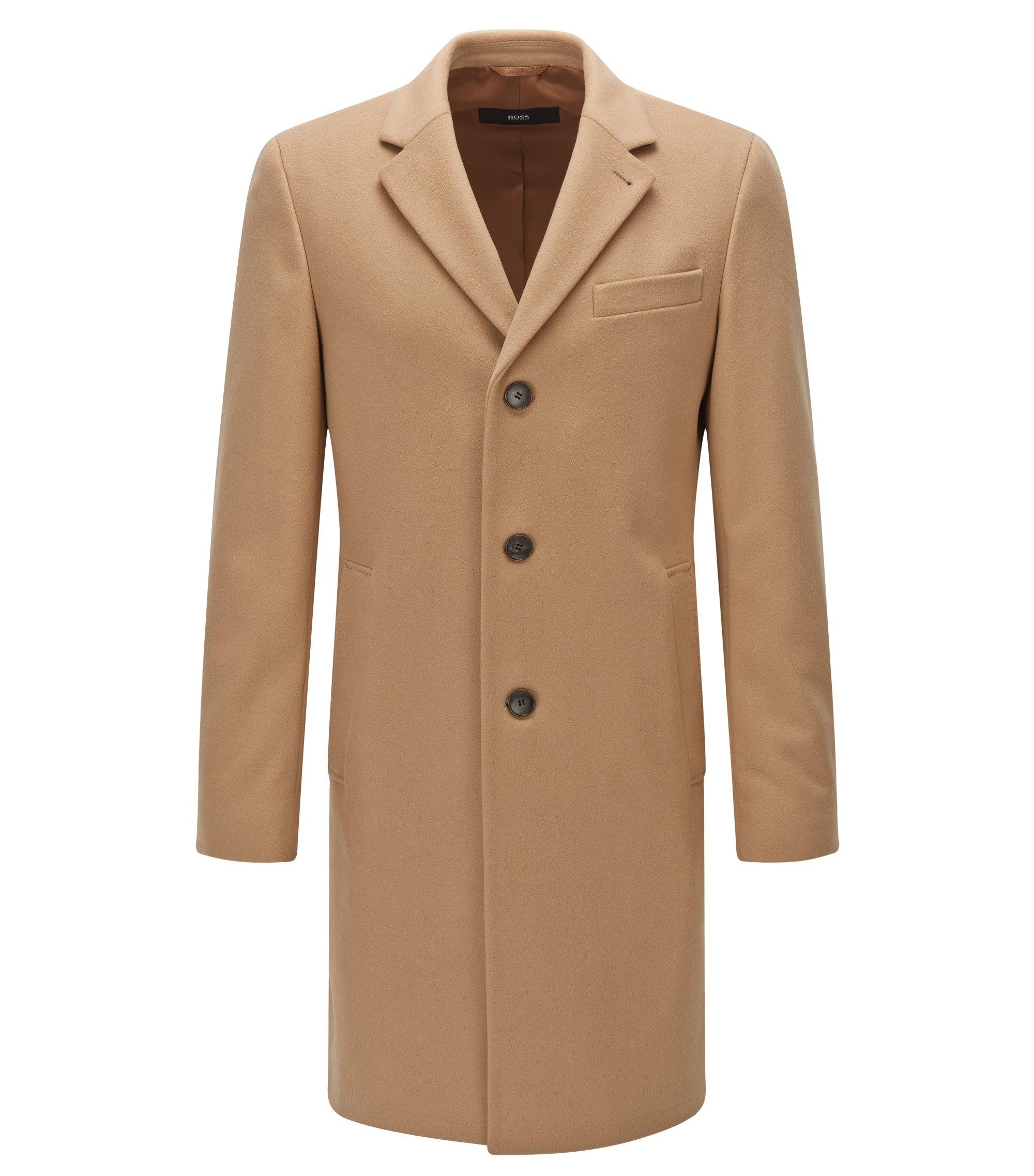 Cappotto slim fit in misto lana, Beige