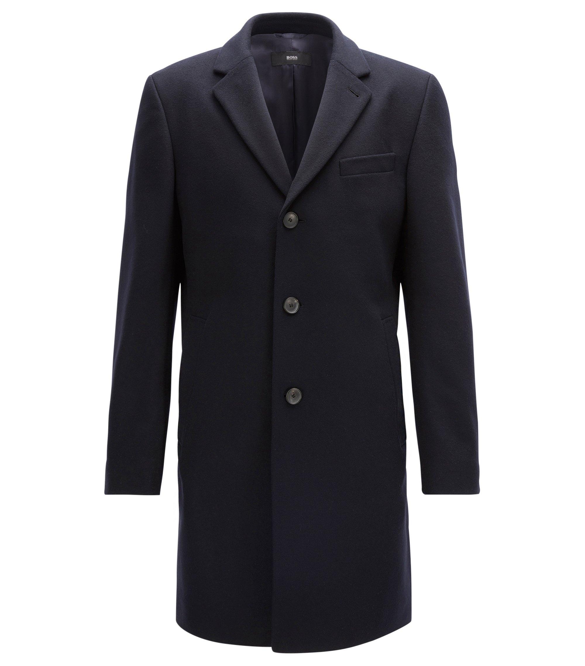 Wool-blend coat in a slim fit, Dark Blue