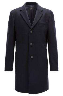 Wool-blend coat in a slim fit, Dark Blue