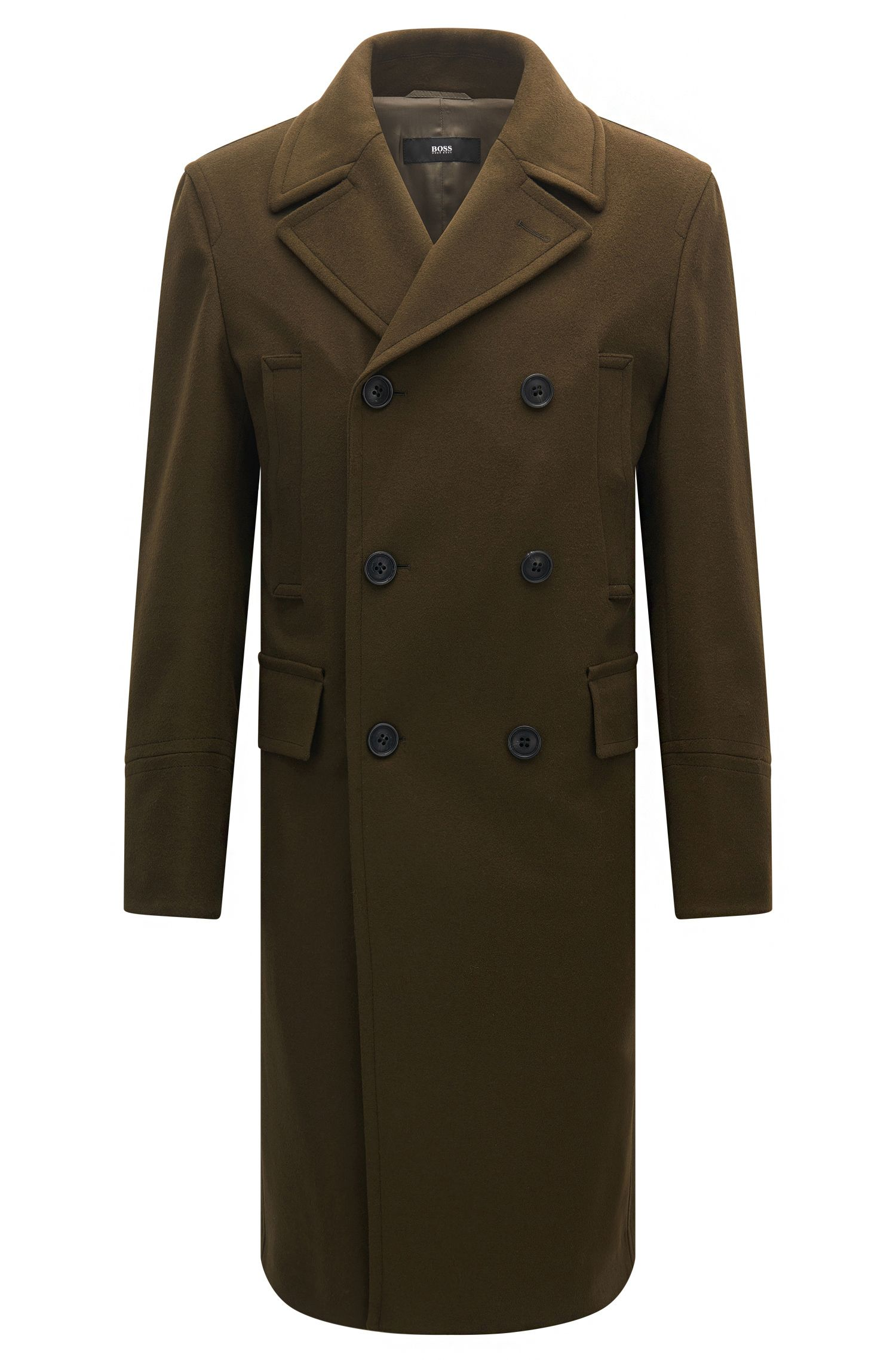 Slim-fit double-breasted coat in a wool blend