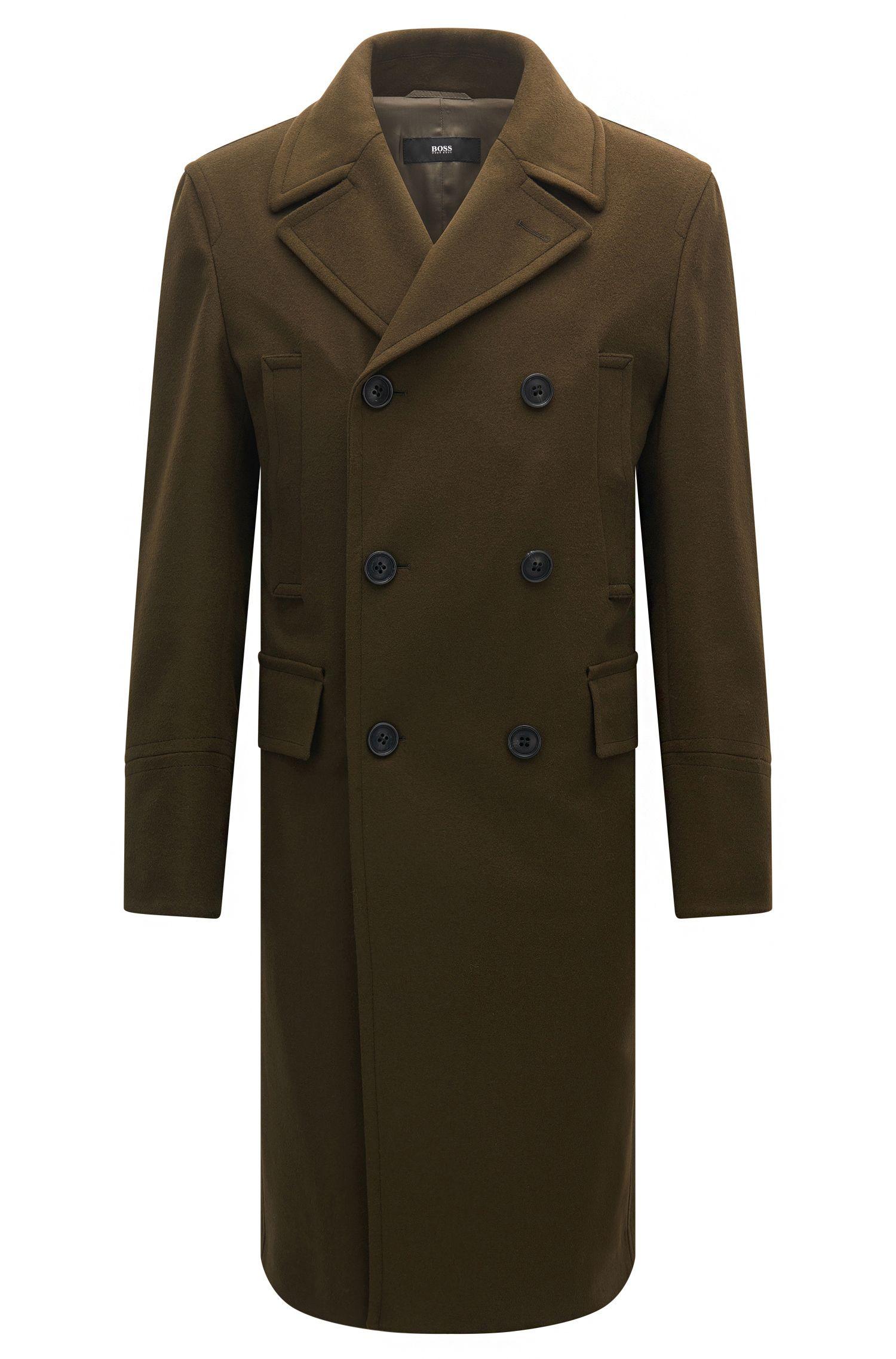 Abrigo cruzado slim fit en mezcla de lana