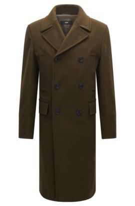 Slim-fit double-breasted coat in a wool blend, Open Green