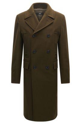 Slim-fit mantel van een wolmix met twee rijen knopen, Kalk