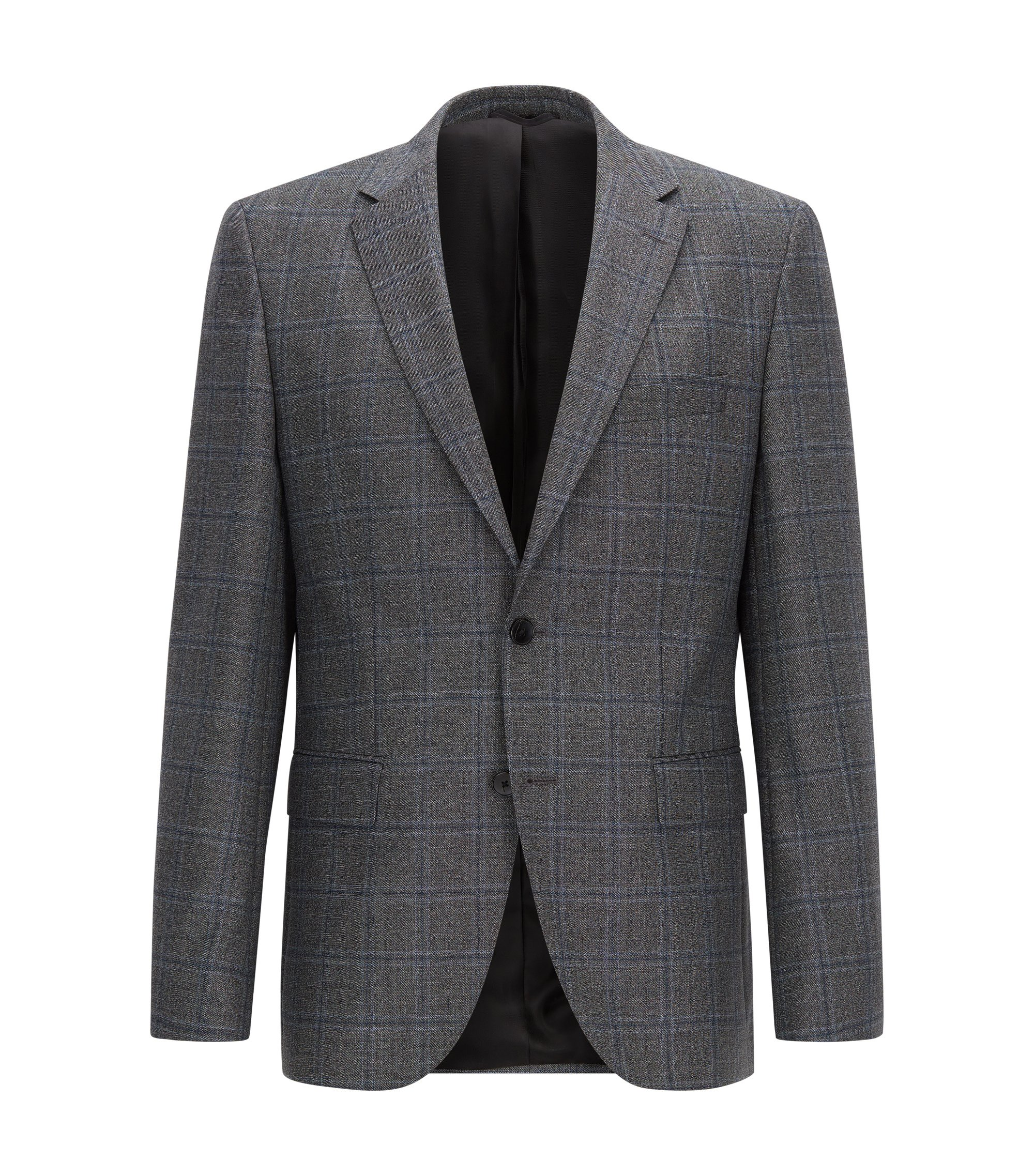 Regular-fit jacket in checked virgin wool, Dark Grey