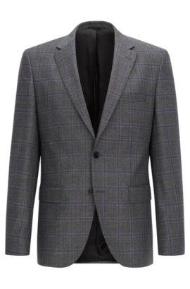 Regular-fit jacket in checked virgin wool, Dark Grey