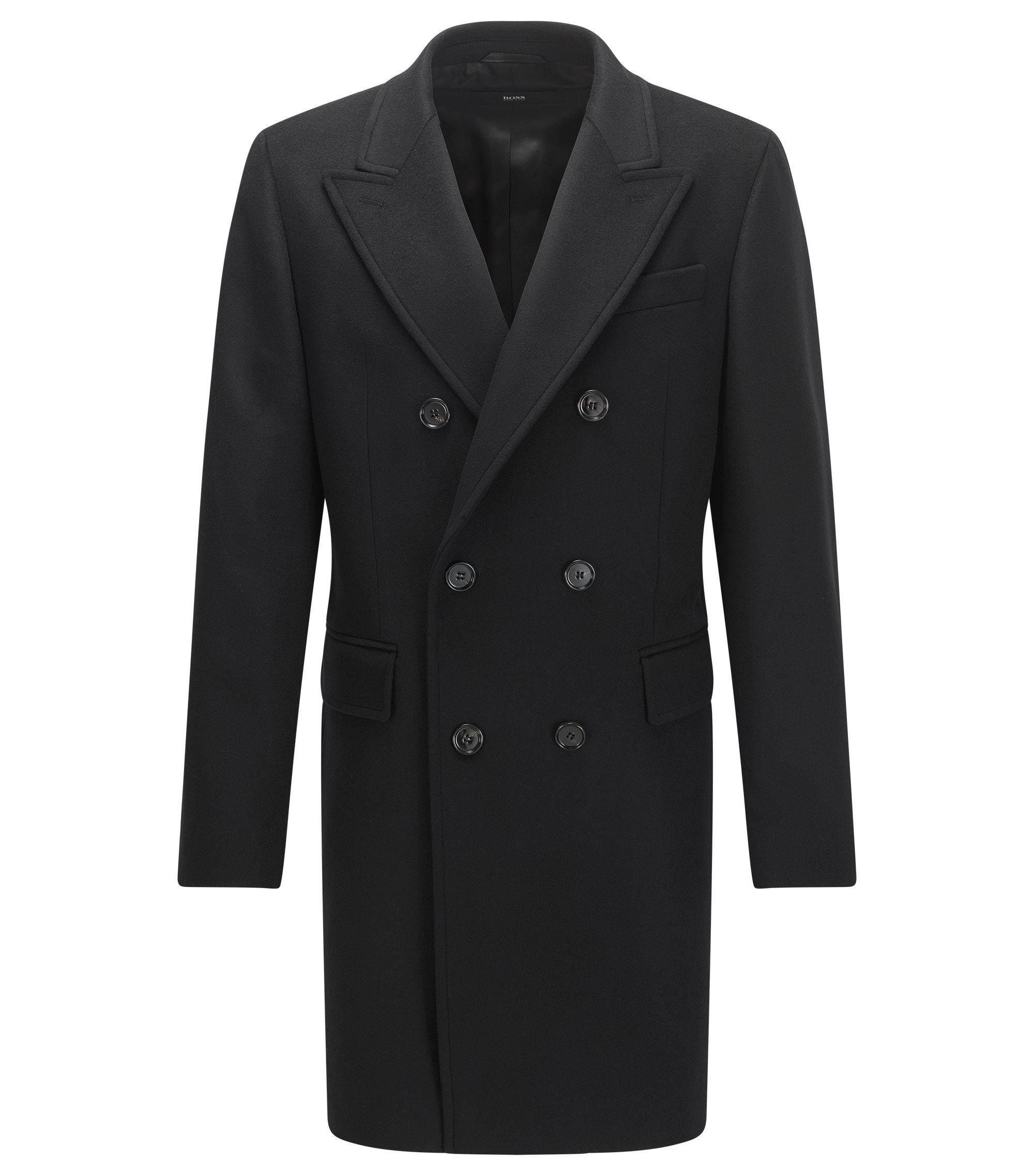 Zweireihiger Slim-Fit Mantel aus Schurwoll-Mix mit Kaschmir, Schwarz
