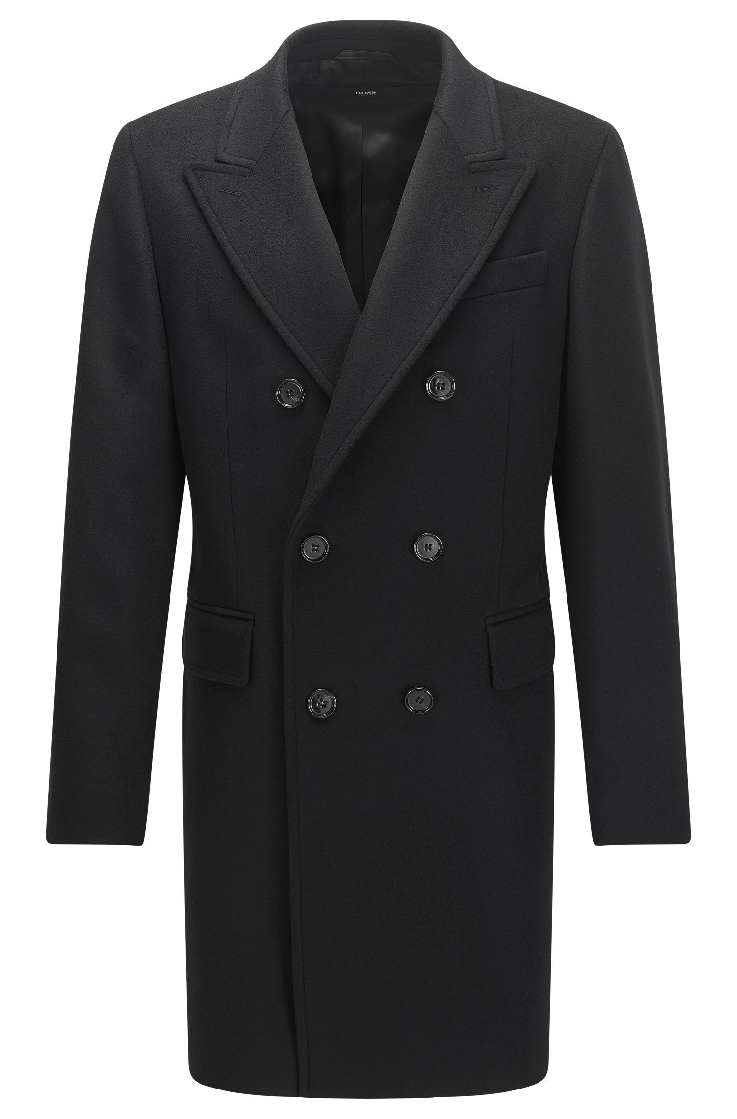 Double-breasted wool-blend coat in a slim fit