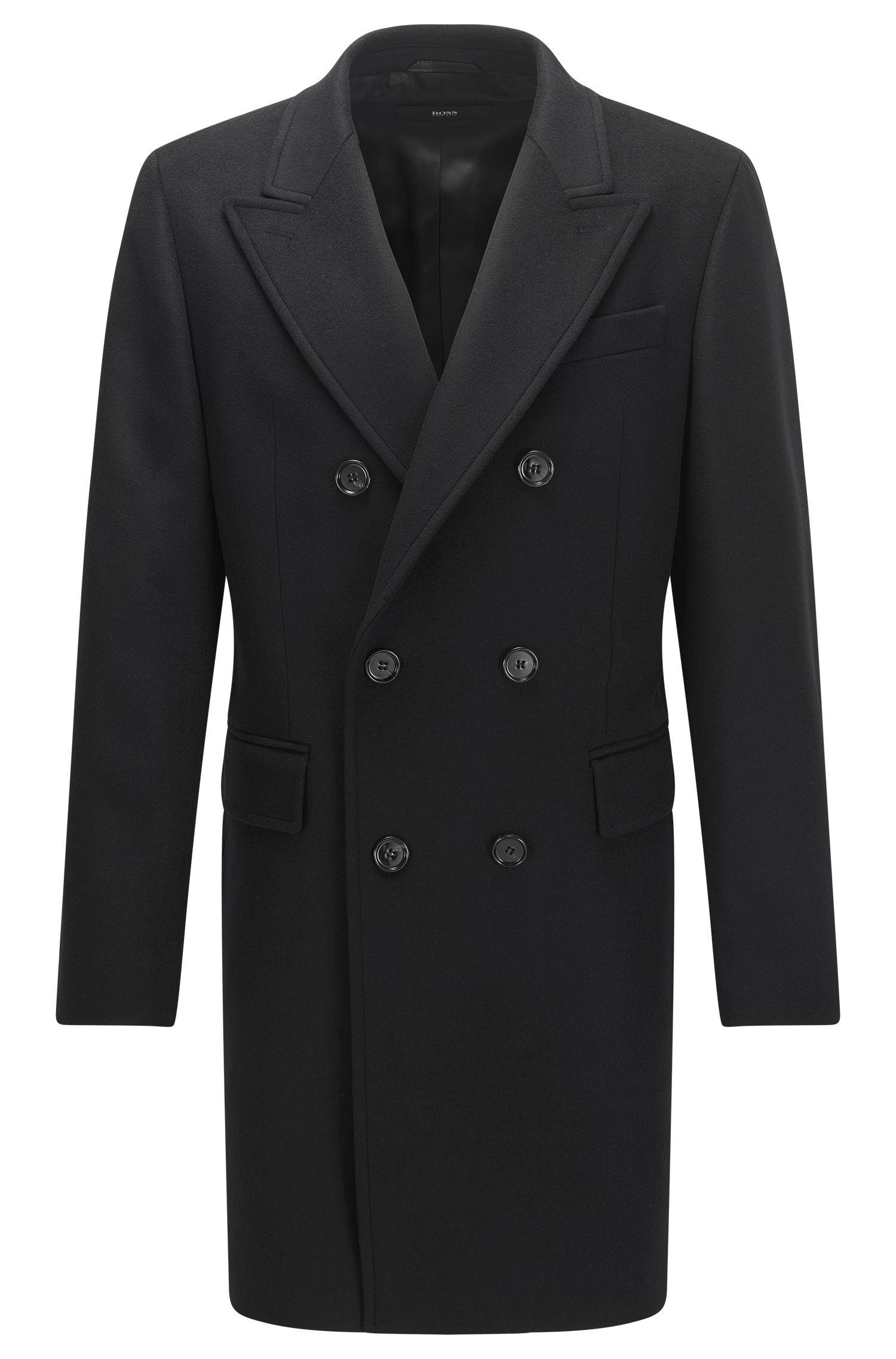 Zweireihiger Slim-Fit Mantel aus Schurwoll-Mix mit Kaschmir