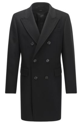 Double-breasted wool-blend coat in a slim fit, Schwarz