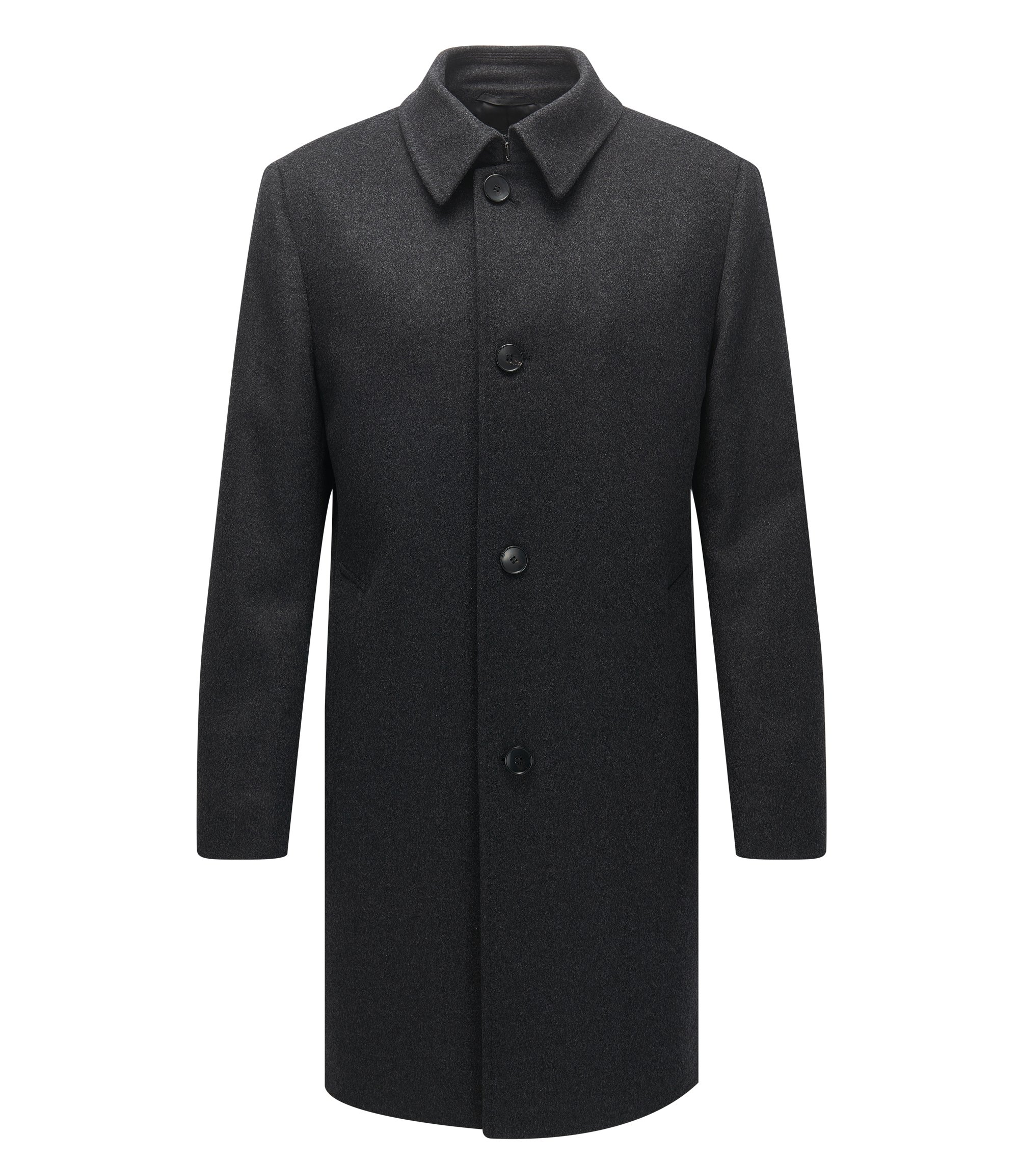 Wool-blend coat in a regular fit, Anthracite