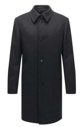 Wool-blend coat in a regular fit, Anthrazit
