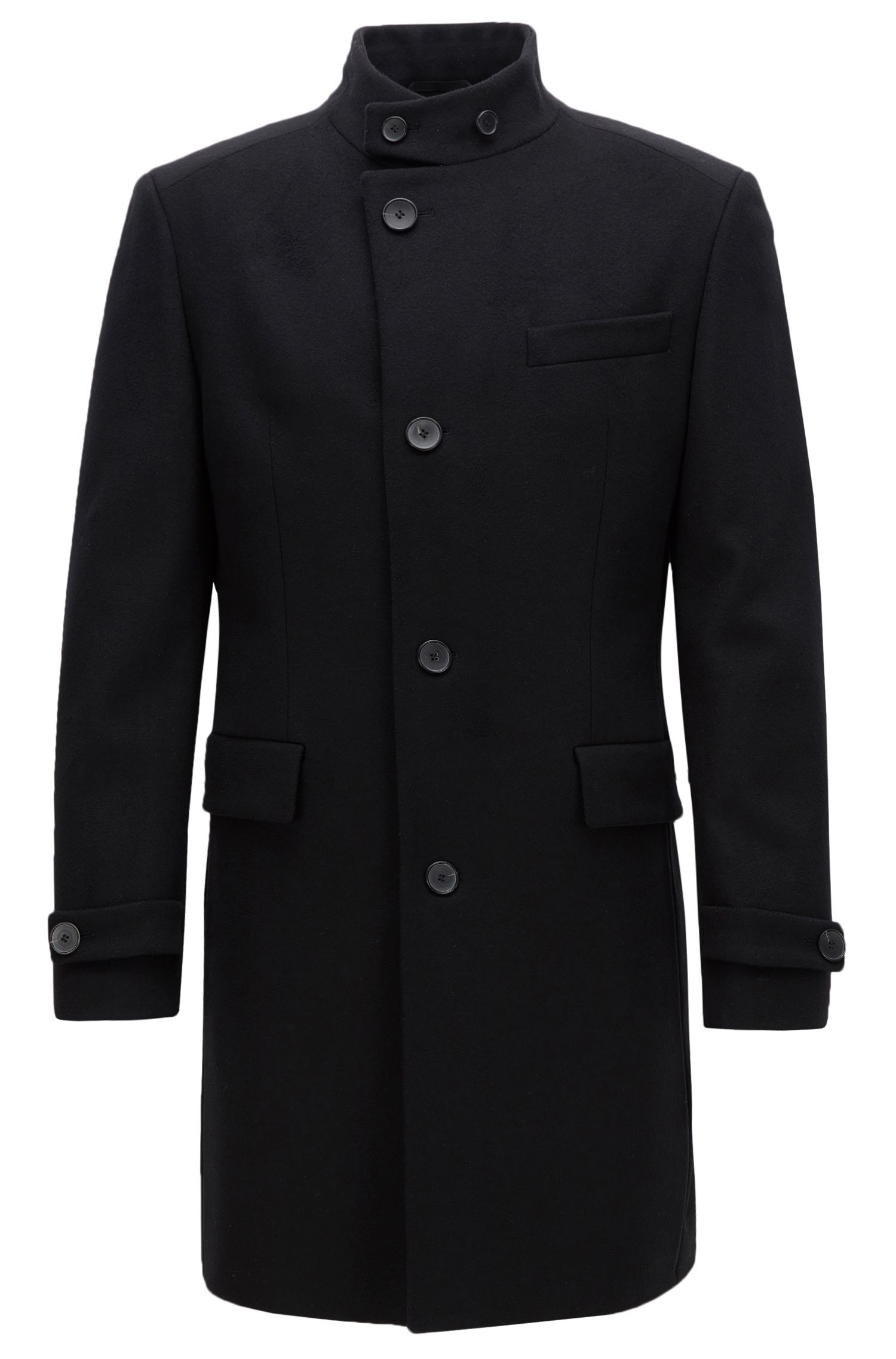 Regular-fit wool-blend coat with stand collar