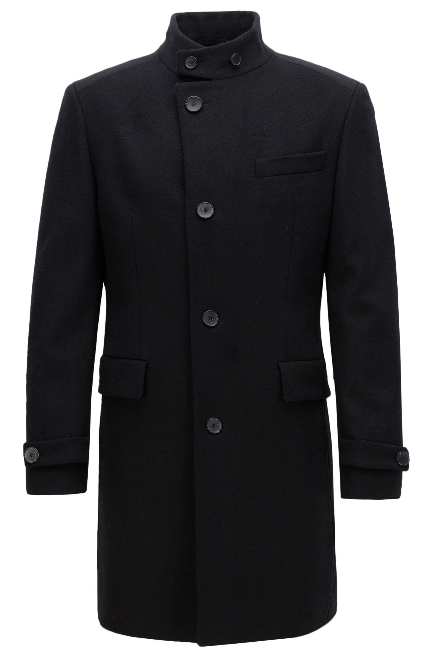 Cappotto regular fit in misto lana con colletto rialzato