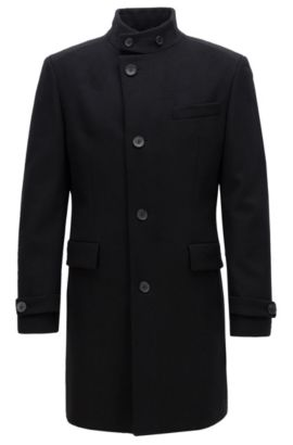 Regular-fit wool-blend coat with stand collar, Black