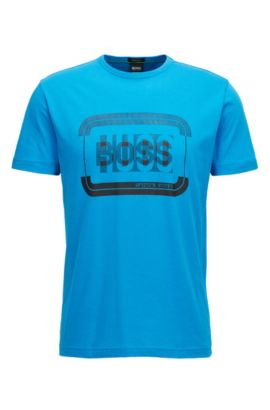 Cotton logo T-shirt in a regular fit, Turquoise