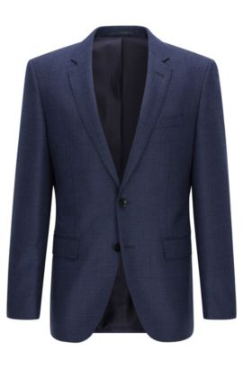 Slim-fit jacket in wool and cashmere, Blue