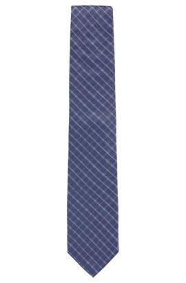Cravatta con motivo a quadri in diagonale in seta jacquard, Blu scuro