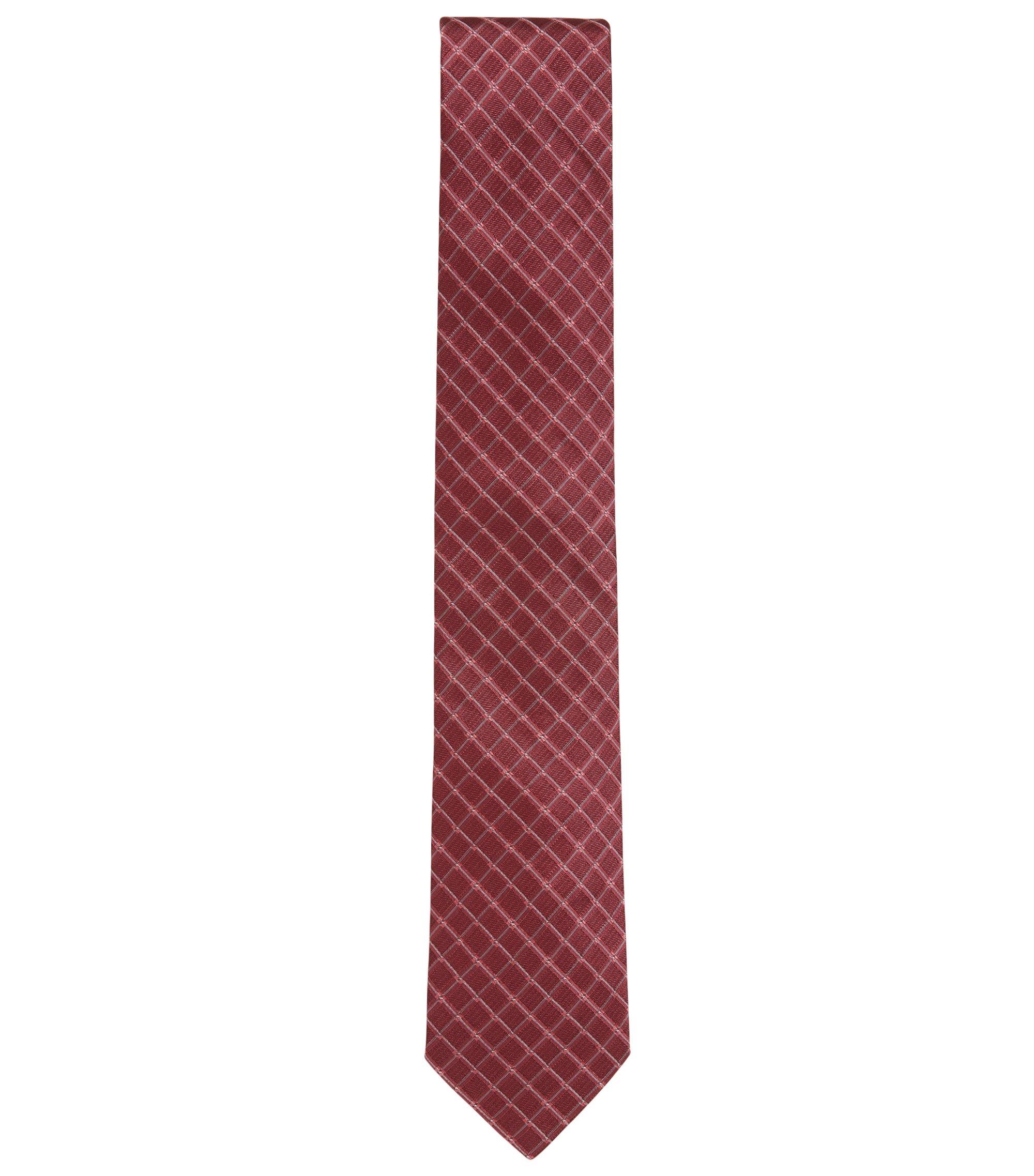 Cravate en jacquard de soie à carreaux en diagonale, Rouge