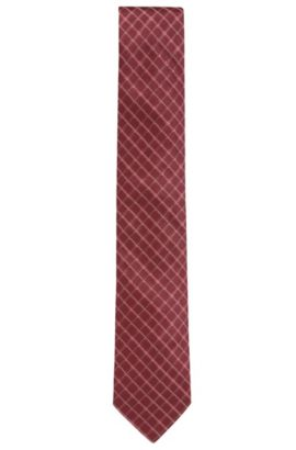 Diagonal checked tie in silk jacquard, Red