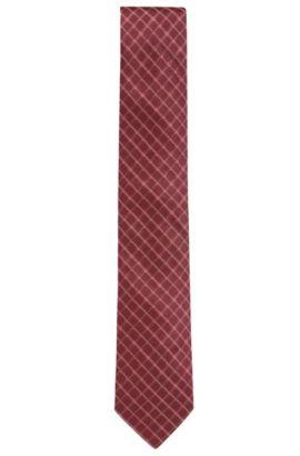 Diagonal karierte Krawatte aus Seiden-Jacquard, Rot