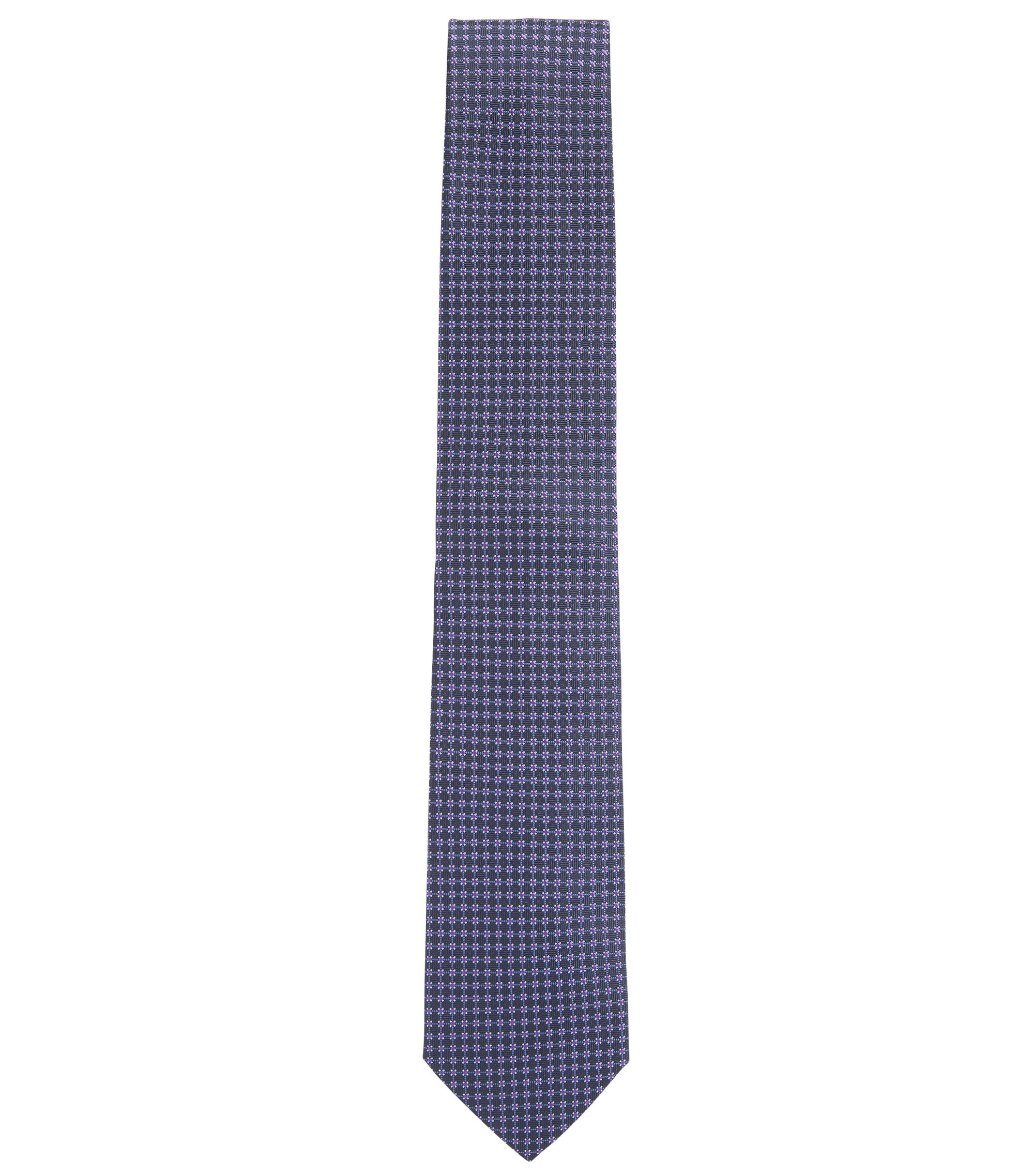 Jacquard-woven tie in pure silk, Dark Purple