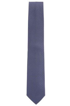 Jacquard-woven tie in pure silk, Dark Purple