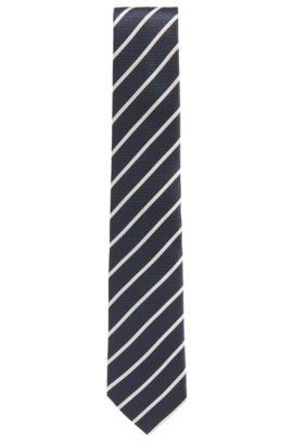 Cravate en jacquard de soie à rayures, Bleu foncé