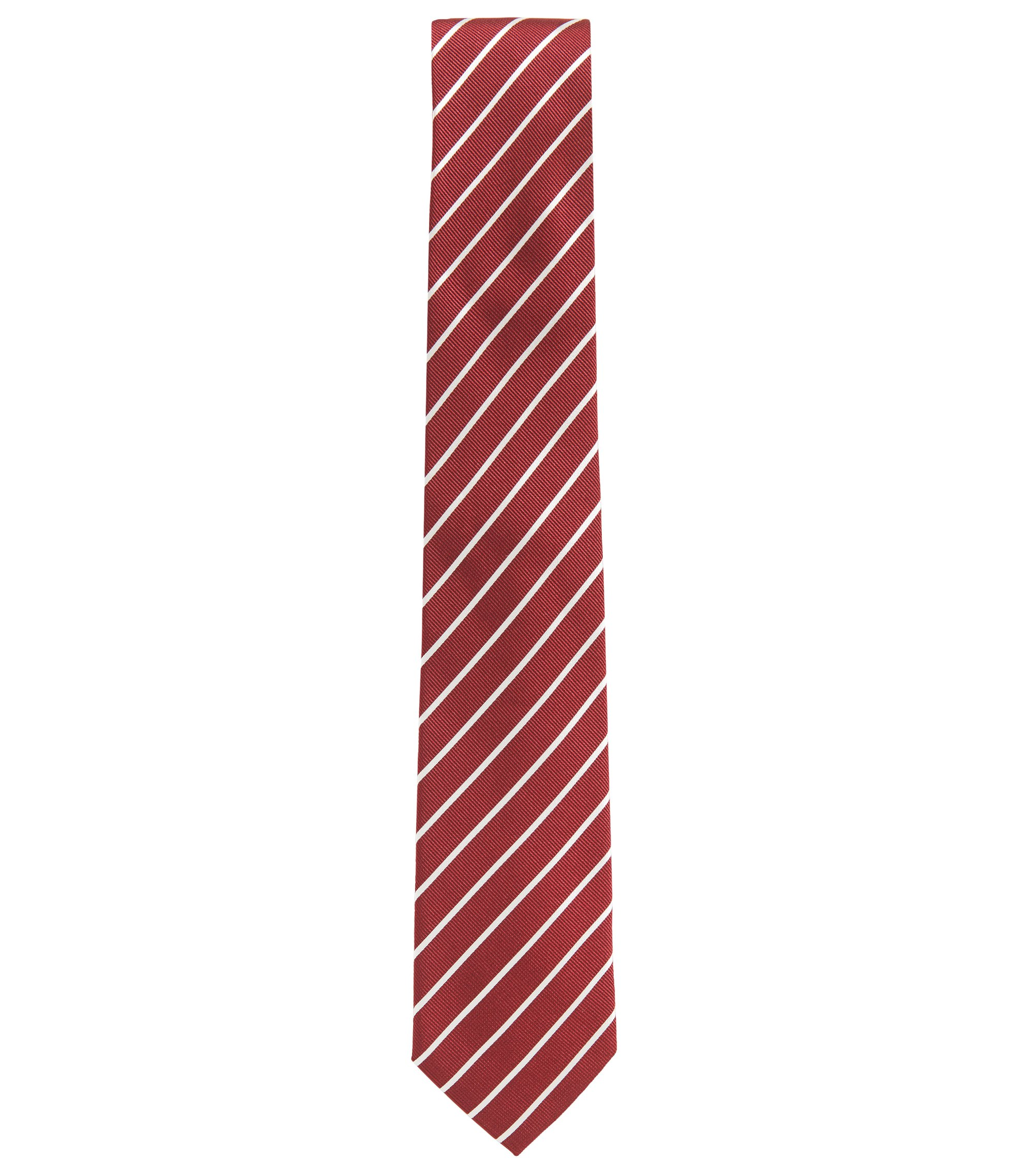 Striped tie in silk jacquard, Red