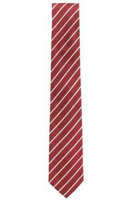 Cravatta a righe in seta jacquard, Rosso