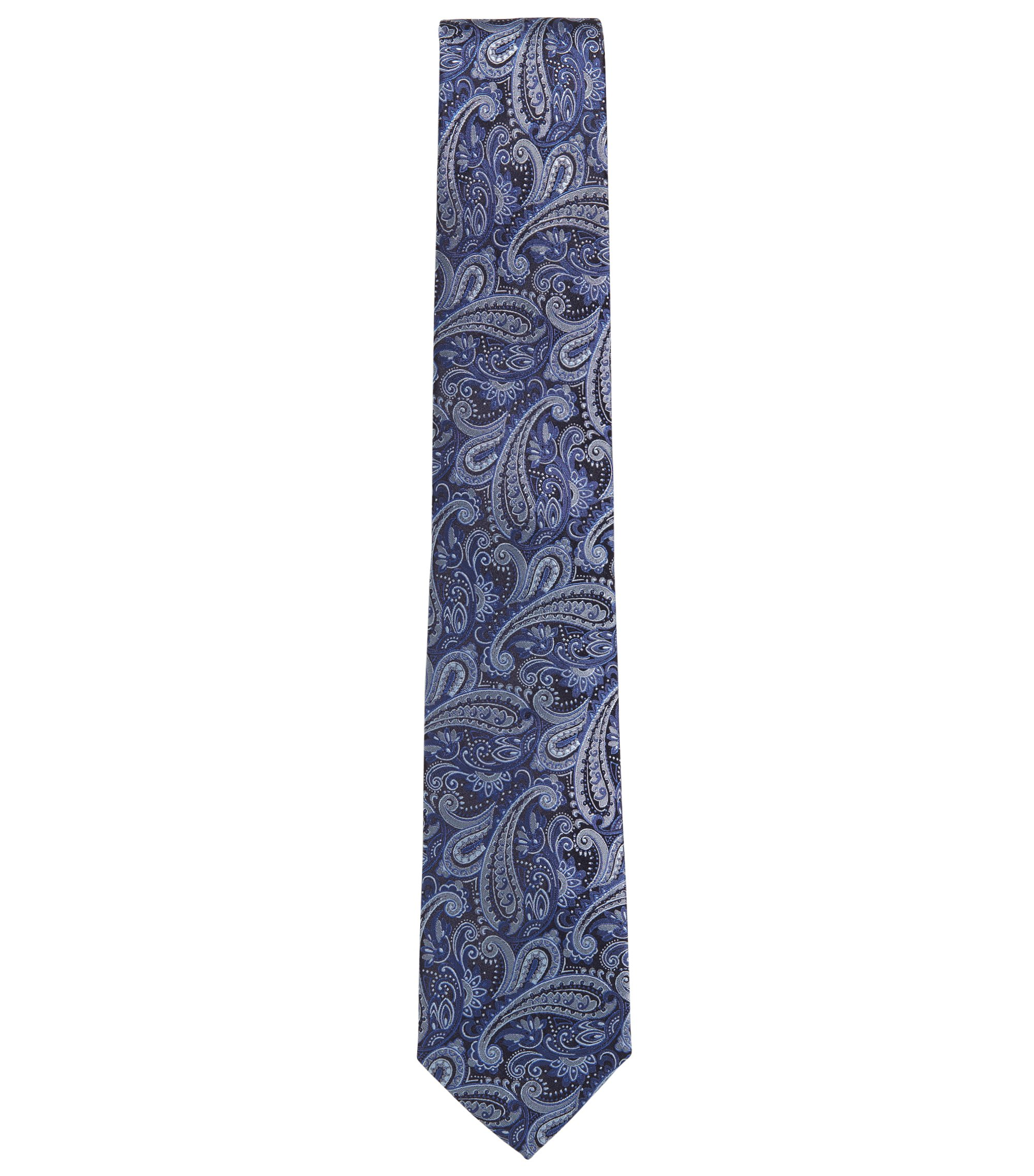 Paisley tie in silk jacquard, Turquoise