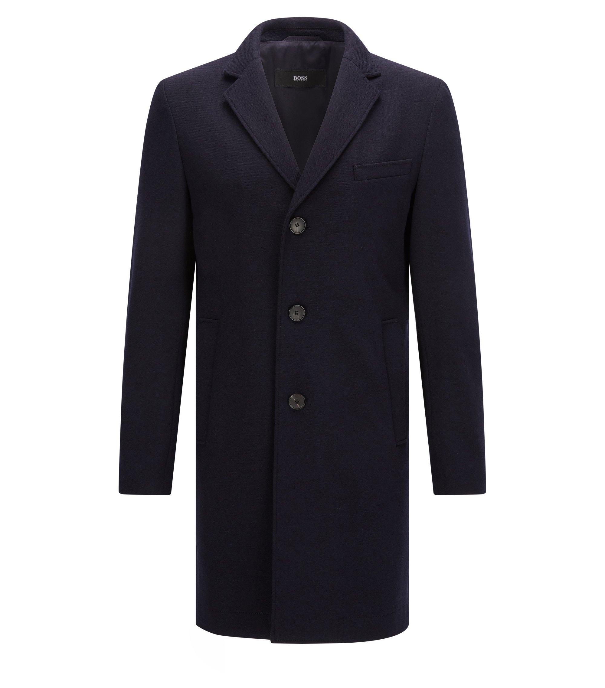 Slim-fit mantel van stretchjersey, Donkerblauw