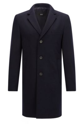 Slim-fit coat in stretch jersey, Dark Blue