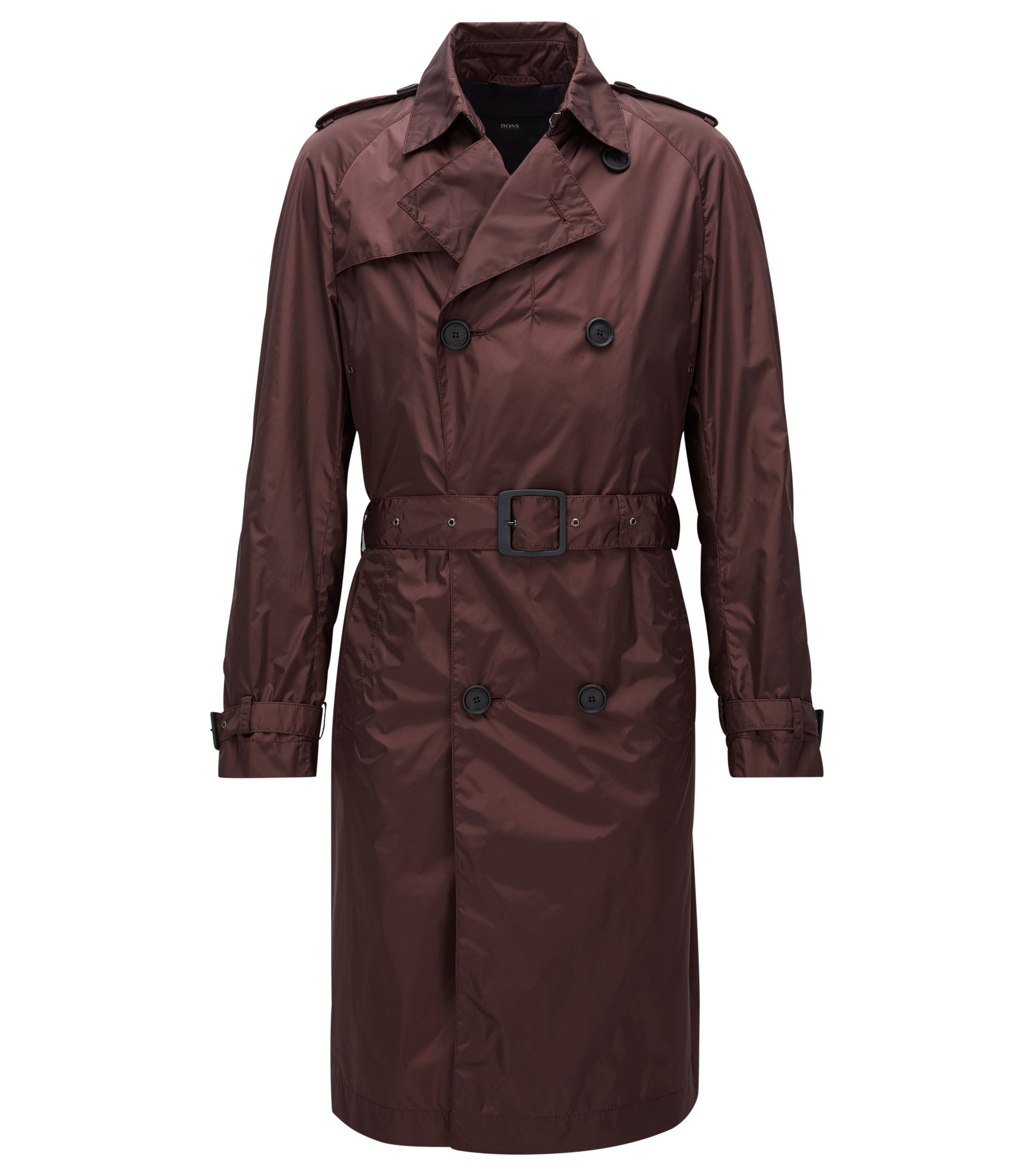 Lange, waterafstotende trenchcoat in een slim-fit model, Donkerrood