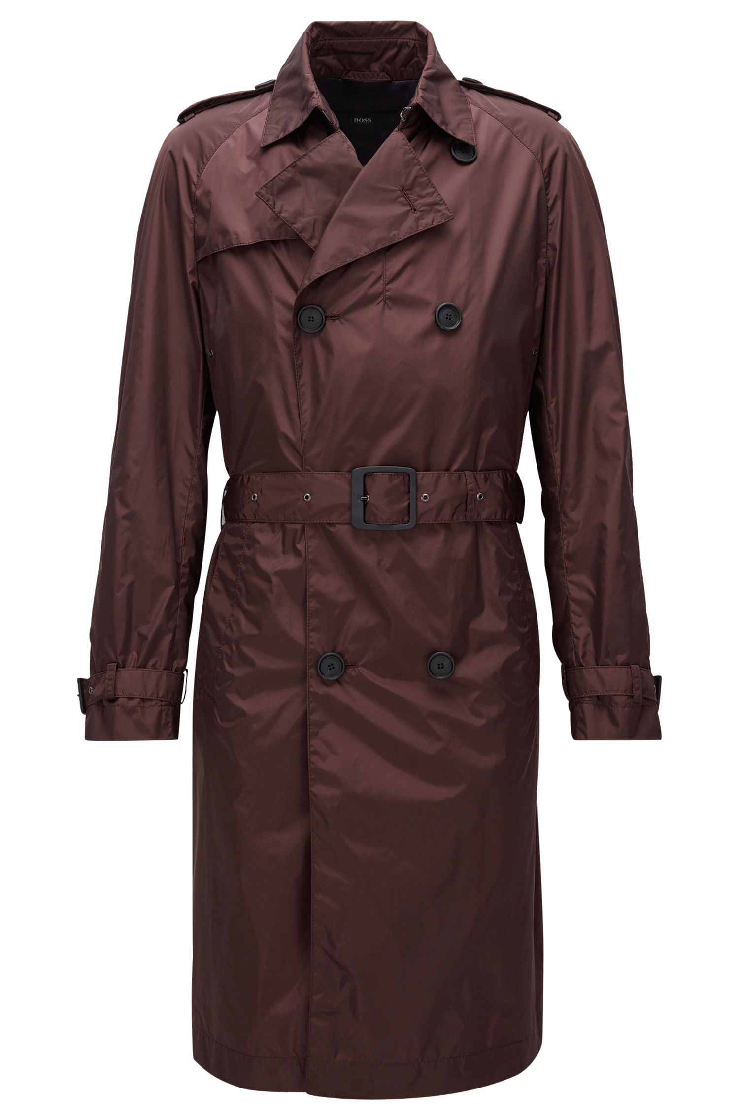 Long-length water-repellent trench coat in a slim fit