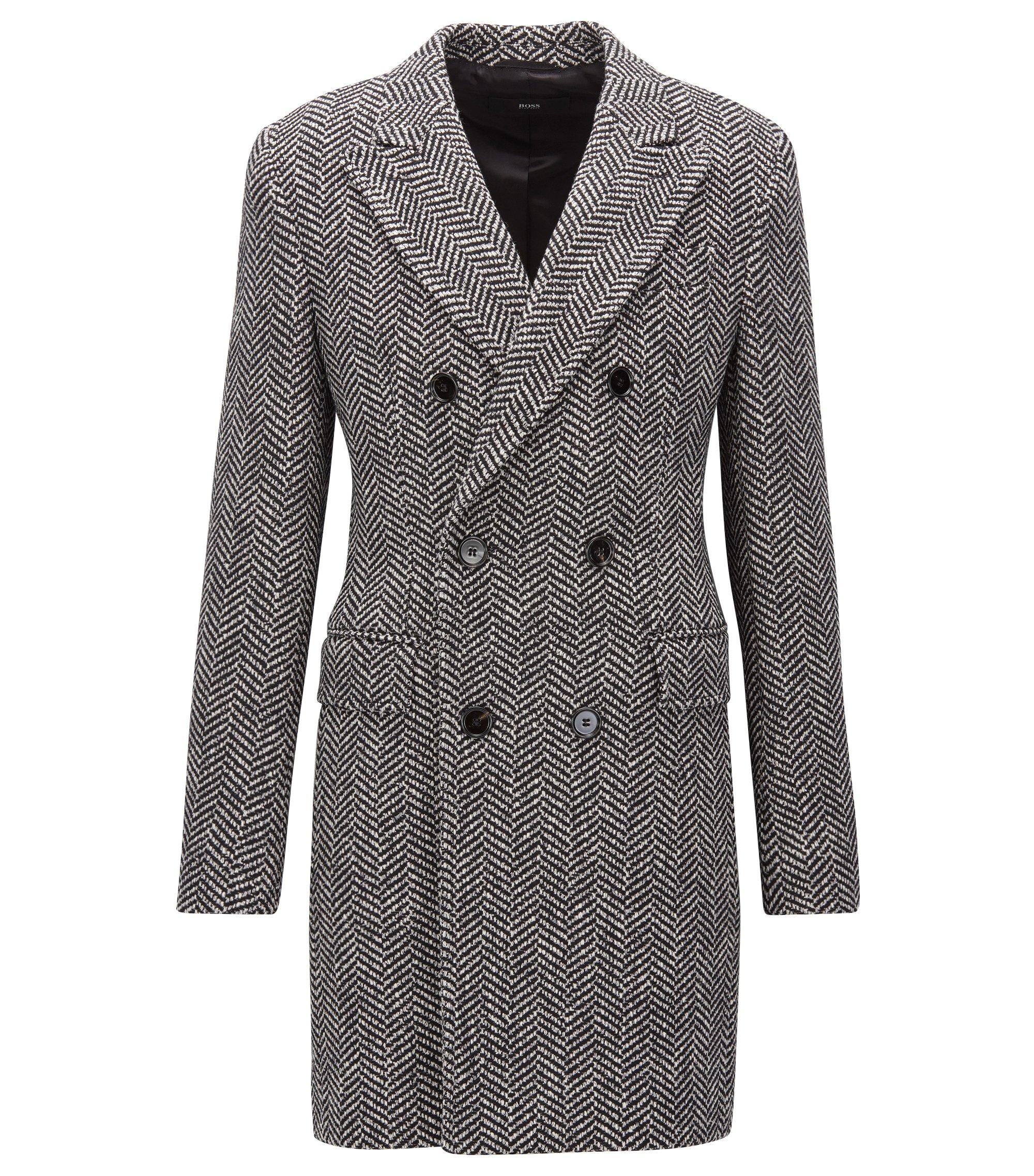 Double-breasted herringbone coat in a slim fit, Dark Grey