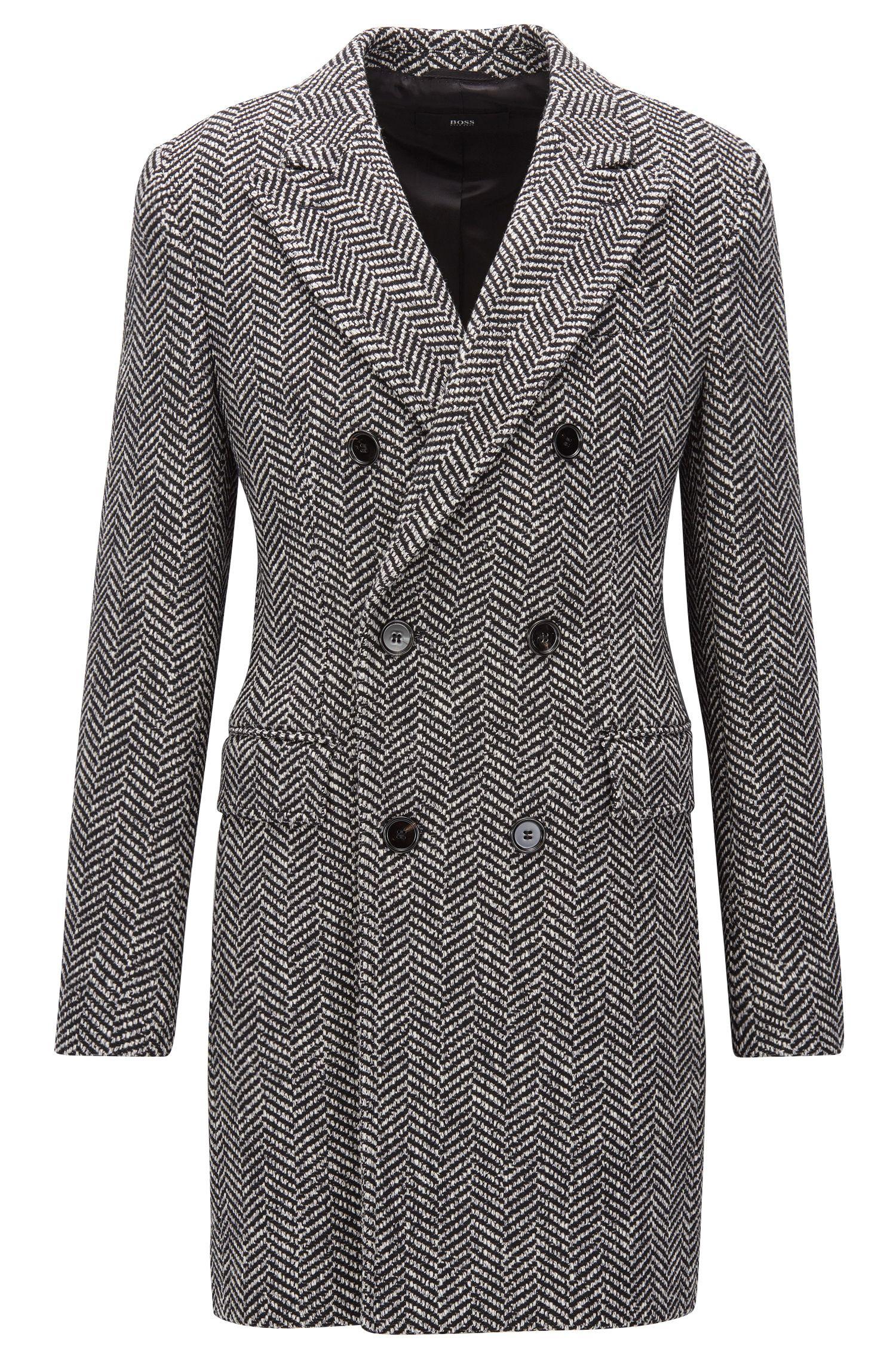 Zweireihiger Slim-Fit Mantel aus Material-Mix mit Fischgrätmuster