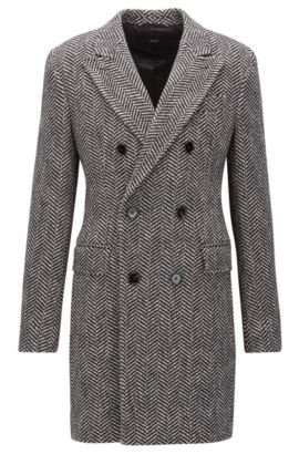 Double-breasted herringbone coat in a slim fit, Dark Grey