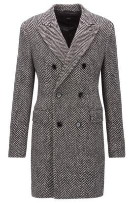 Zweireihiger Slim-Fit Mantel aus Material-Mix mit Fischgrätmuster, Dunkelgrau