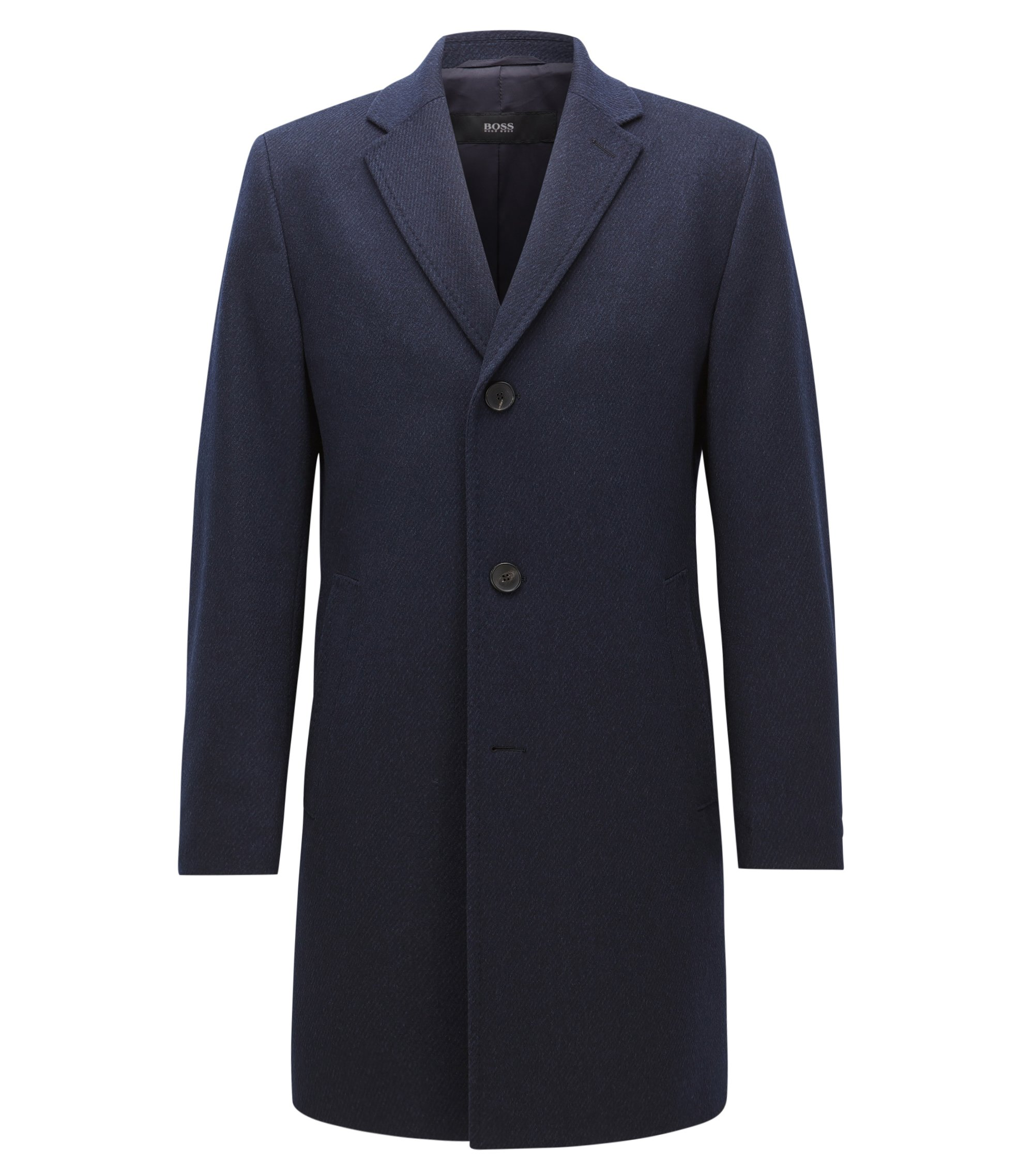 Regular-fit wool-blend coat with contrast undercollar, Dark Blue
