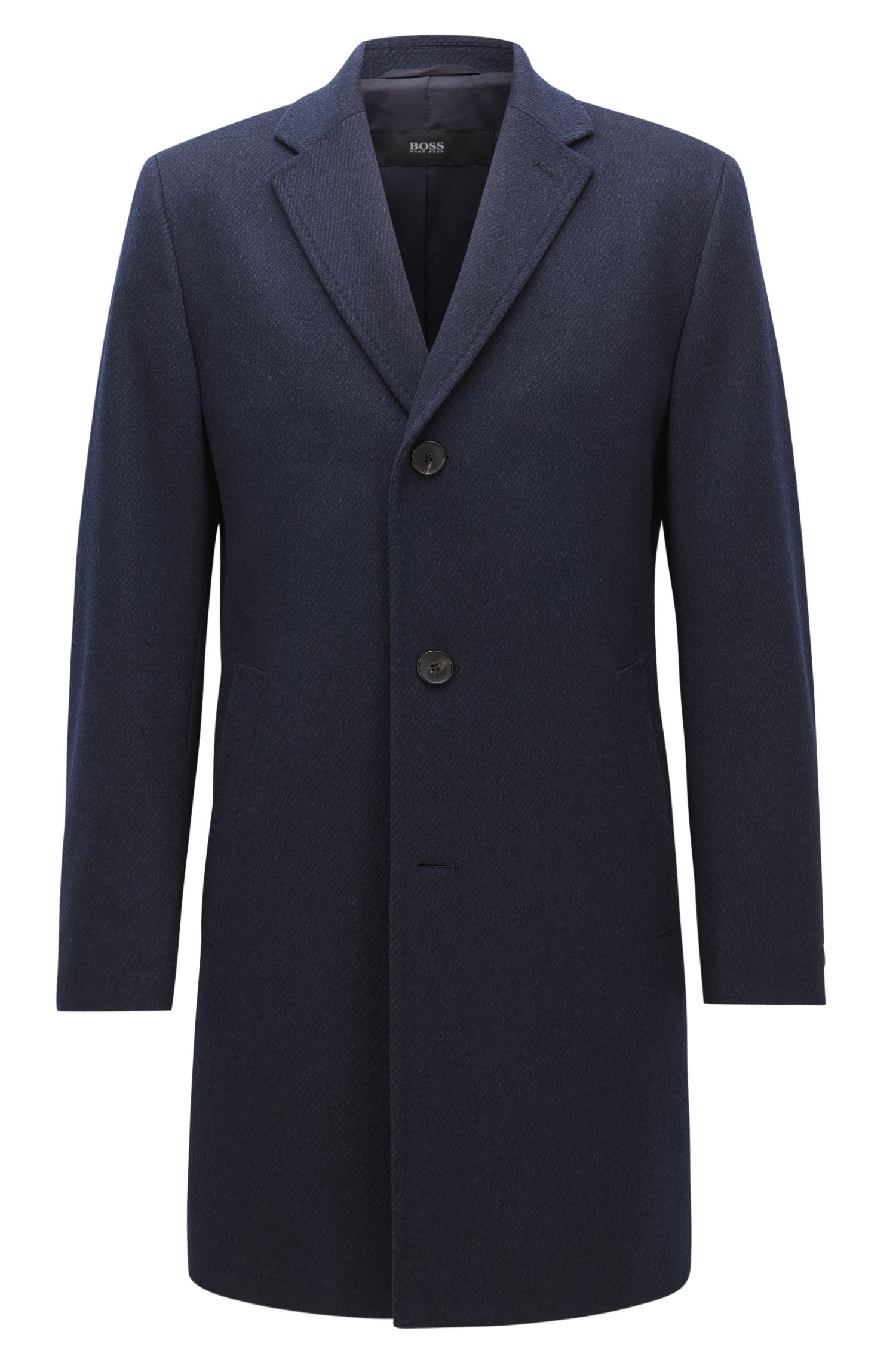 Regular-fit wool-blend coat with contrast undercollar