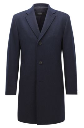 Cappotto regular fit in misto lana con sottocollo a contrasto, Blu scuro