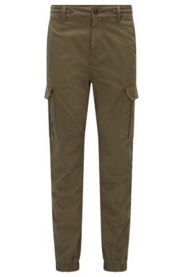 Pantalon cargo Tapered Fit en coton stretch, Vert sombre