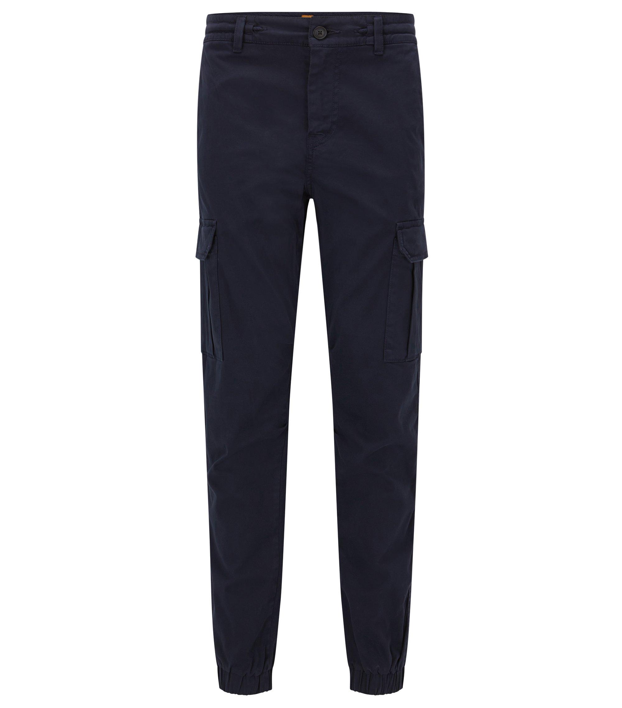 Pantalones cargo tapered fit en algodón elástico, Azul oscuro
