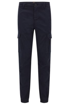 Pantalon cargo Tapered Fit en coton stretch, Bleu foncé